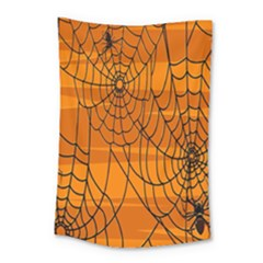 Vector Seamless Pattern With Spider Web On Orange Small Tapestry by BangZart