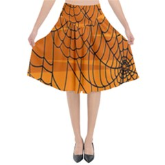 Vector Seamless Pattern With Spider Web On Orange Flared Midi Skirt by BangZart
