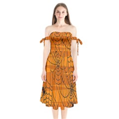 Vector Seamless Pattern With Spider Web On Orange Shoulder Tie Bardot Midi Dress by BangZart
