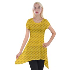 Yellow Dots Pattern Short Sleeve Side Drop Tunic by BangZart