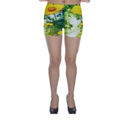 Yellow Flowers Skinny Shorts by BangZart