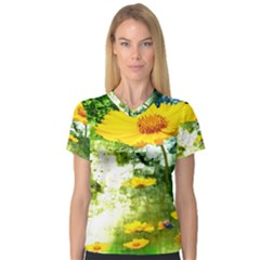 Yellow Flowers Women s V Neck Sport Mesh Tee by BangZart