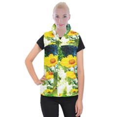 Yellow Flowers Women s Button Up Puffer Vest by BangZart