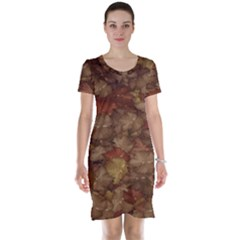 Brown Texture Short Sleeve Nightdress by BangZart