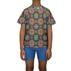 Jewel Tiles Kaleidoscope Kids  Short Sleeve Swimwear by WolfepawFractals