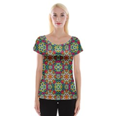 Jewel Tiles Kaleidoscope Cap Sleeve Tops by WolfepawFractals