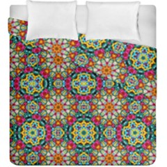Jewel Tiles Kaleidoscope Duvet Cover Double Side (king Size) by WolfepawFractals