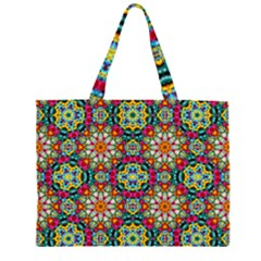 Jewel Tiles Kaleidoscope Zipper Large Tote Bag by WolfepawFractals