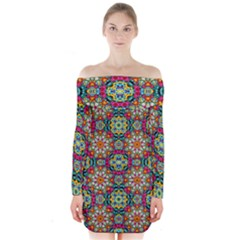 Jewel Tiles Kaleidoscope Long Sleeve Off Shoulder Dress by WolfepawFractals