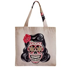 Woman Sugar Skull Zipper Grocery Tote Bag by LimeGreenFlamingo