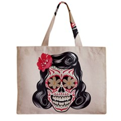 Woman Sugar Skull Zipper Mini Tote Bag by LimeGreenFlamingo