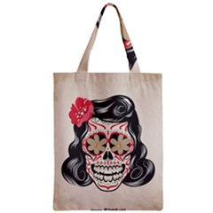 Woman Sugar Skull Zipper Classic Tote Bag by LimeGreenFlamingo