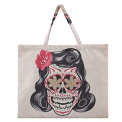 Woman Sugar Skull Zipper Large Tote Bag by LimeGreenFlamingo