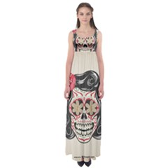 Woman Sugar Skull Empire Waist Maxi Dress