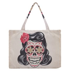 Woman Sugar Skull Medium Zipper Tote Bag by LimeGreenFlamingo