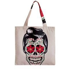 Man Sugar Skull Zipper Grocery Tote Bag by LimeGreenFlamingo