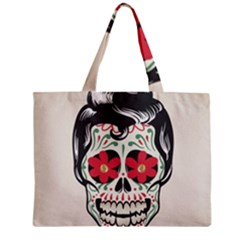Man Sugar Skull Zipper Mini Tote Bag by LimeGreenFlamingo