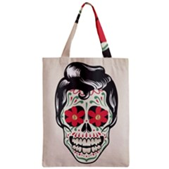 Man Sugar Skull Zipper Classic Tote Bag by LimeGreenFlamingo