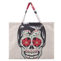 Man Sugar Skull Zipper Large Tote Bag by LimeGreenFlamingo