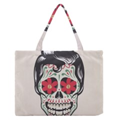 Man Sugar Skull Medium Zipper Tote Bag by LimeGreenFlamingo