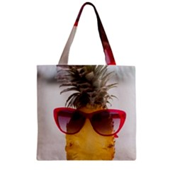 Pineapple With Sunglasses Zipper Grocery Tote Bag by LimeGreenFlamingo