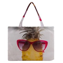 Pineapple With Sunglasses Medium Zipper Tote Bag by LimeGreenFlamingo