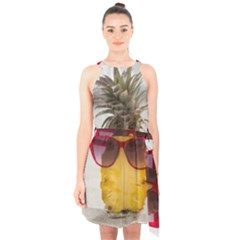 Pineapple With Sunglasses Halter Collar Waist Tie Chiffon Dress