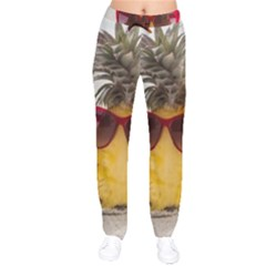 Pineapple With Sunglasses Drawstring Pants by LimeGreenFlamingo
