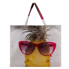 Pineapple With Sunglasses Zipper Large Tote Bag by LimeGreenFlamingo