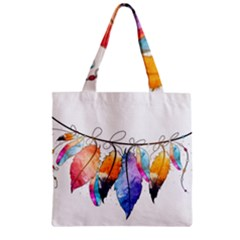 Watercolor Feathers Zipper Grocery Tote Bag by LimeGreenFlamingo
