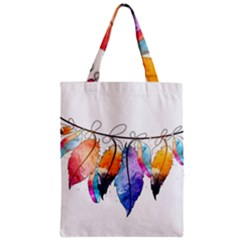 Watercolor Feathers Zipper Classic Tote Bag by LimeGreenFlamingo