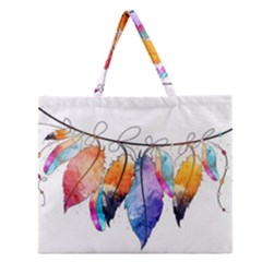 Watercolor Feathers Zipper Large Tote Bag by LimeGreenFlamingo