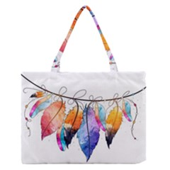 Watercolor Feathers Medium Zipper Tote Bag by LimeGreenFlamingo