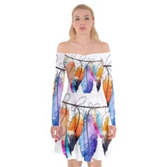 Watercolor Feathers Off Shoulder Skater Dress by LimeGreenFlamingo