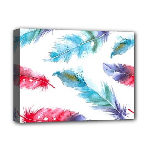 Watercolor Feather Background Deluxe Canvas 16  X 12   by LimeGreenFlamingo