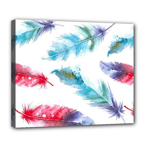 Watercolor Feather Background Deluxe Canvas 24  X 20   by LimeGreenFlamingo