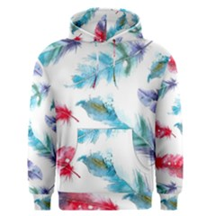 Watercolor Feather Background Men s Pullover Hoodie by LimeGreenFlamingo