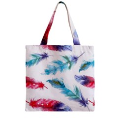 Watercolor Feather Background Zipper Grocery Tote Bag by LimeGreenFlamingo