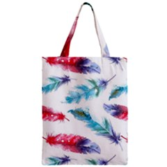 Watercolor Feather Background Zipper Classic Tote Bag by LimeGreenFlamingo