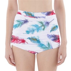 Watercolor Feather Background High-waisted Bikini Bottoms by LimeGreenFlamingo