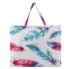 Watercolor Feather Background Zipper Large Tote Bag by LimeGreenFlamingo