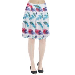 Watercolor Feather Background Pleated Skirt