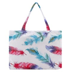 Watercolor Feather Background Medium Zipper Tote Bag by LimeGreenFlamingo