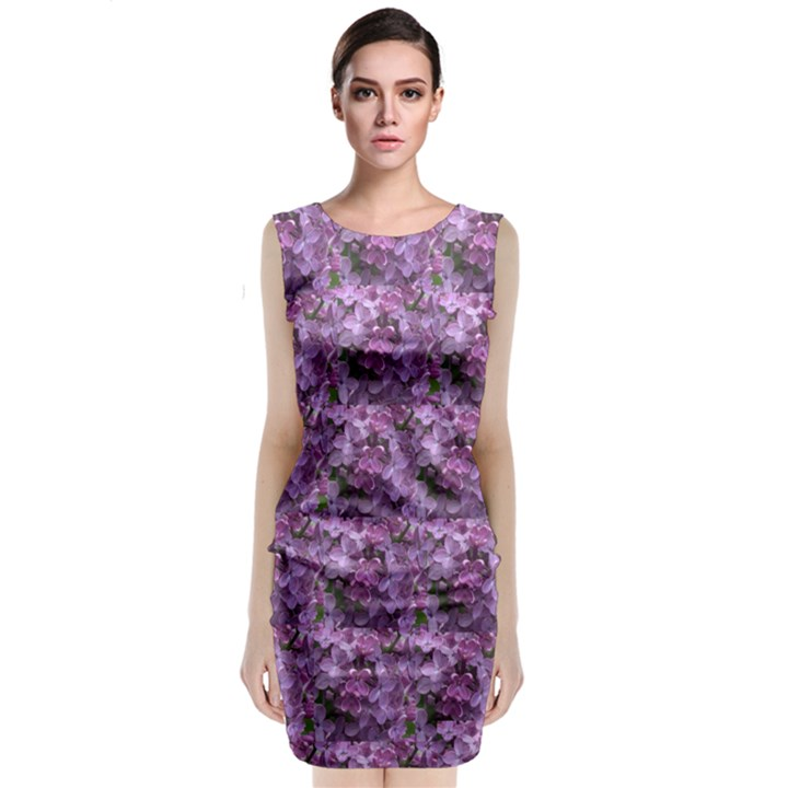 Purple Flowers Sleeveless Velvet Midi Dress
