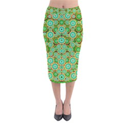 Flowers In Mind In Happy Soft Summer Time Velvet Midi Pencil Skirt by pepitasart