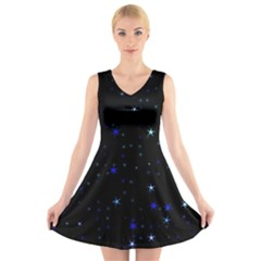 Awesome Allover Stars 02 V-neck Sleeveless Skater Dress by MoreColorsinLife