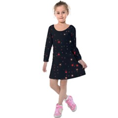 Awesome Allover Stars 02b Kids  Long Sleeve Velvet Dress by MoreColorsinLife