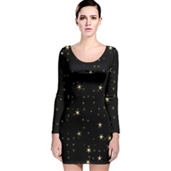 Awesome Allover Stars 02a Long Sleeve Velvet Bodycon Dress by MoreColorsinLife