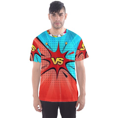 Comic Book Vs With Colorful Comic Speech Bubbles  Men s Sports Mesh Tee by LimeGreenFlamingo