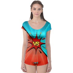 Comic Book Vs With Colorful Comic Speech Bubbles  Boyleg Leotard  by LimeGreenFlamingo